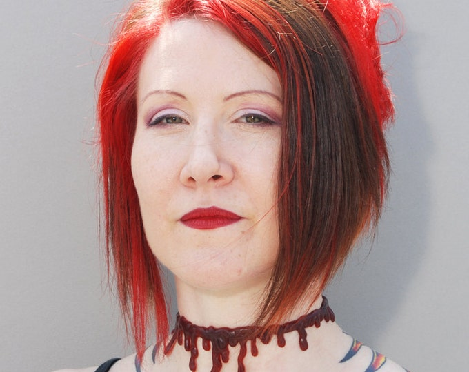 Dripping Blood Vampire  Choker  Necklace  Dark Red