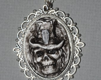 Skeleton Cameo Zombie Necklace - Creepy Skull Ghoul with Casket Motif Top hat Cameo