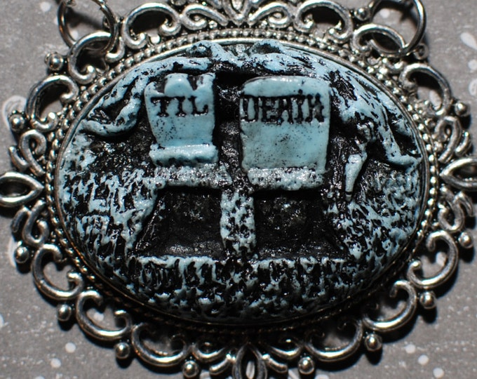 Gothic Lolita Cameo Necklace - Creepy Cute Gothic Cameo Resin Necklace  -  Till Death Double Grave- Bitter Blue