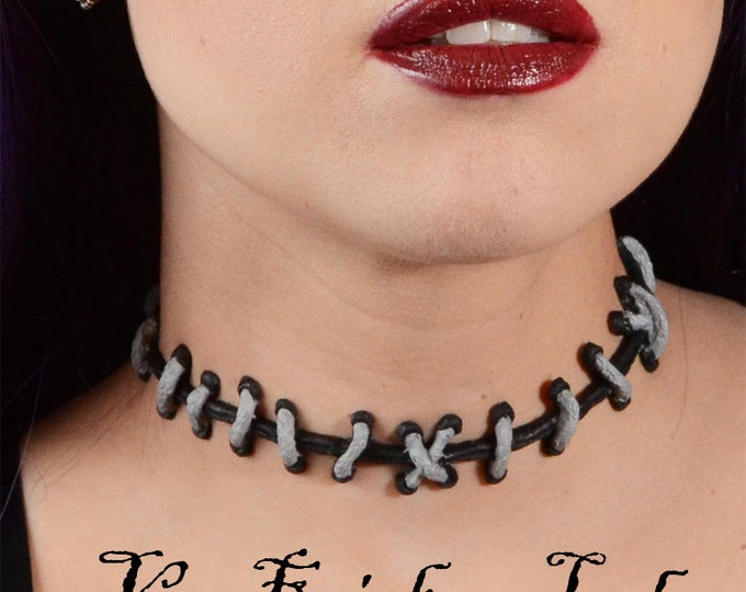 Monster High Necklace- Silver and Black  with THIN stitches Choker