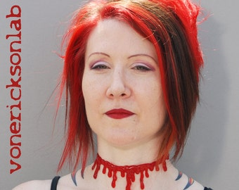 Dripping Blood Necklace - creepy Halloween Jewelry -  Blood Drip Necklace choker Gothic vampire