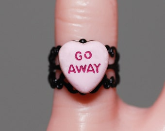 Pastel Goth Creepy Cute Miniature Heart Gothic message Ring -  Jewelry - Go Away P