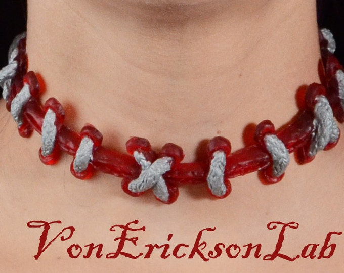 Stitch  Choker necklace - Silver on Bright red with Extreme  stitches Gothic costume Jewelry