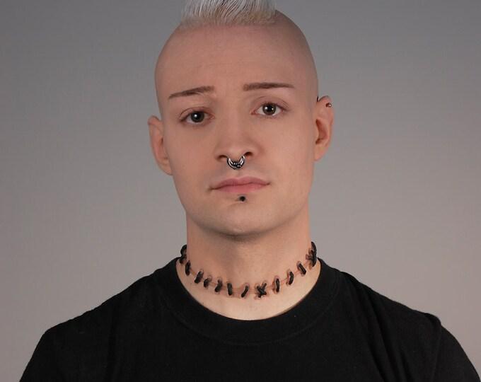 Stitches Necklace - Halloween Jewelry- Horror Frankenstein Zombie Stitch Necklace - Flesh1 Natural stitches Choker