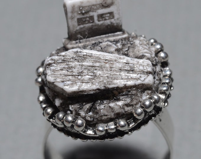 Gothic Cameo Ring- Old  Victorian Cemetery with Tombstone and Coffin  - Zombie  Frankenstein