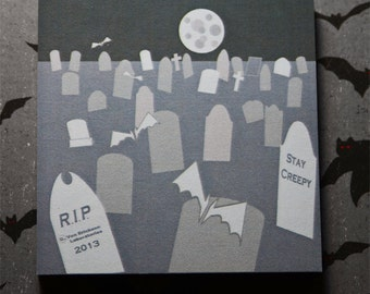 Halloween graveyard  desk Stationary Sticky Note  (3 Pad Set)