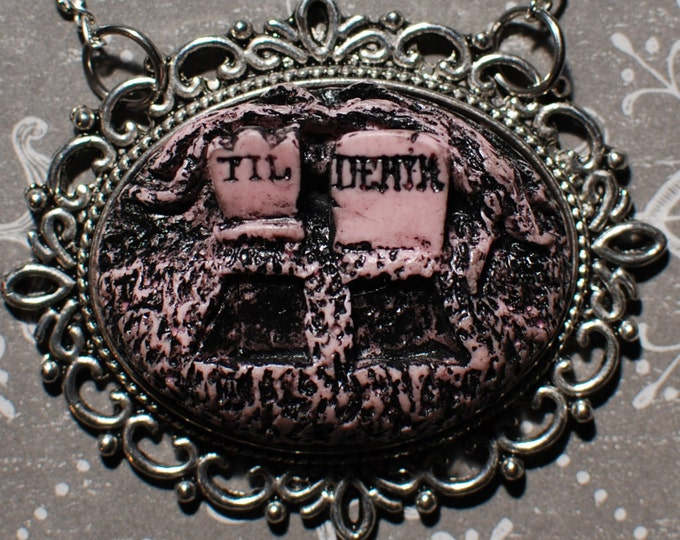 Psychobilly Rockabilly Pendant Necklace - Creepy Cute Gothic Cameo Resin Necklace  -  Till Death Double Grave- Putrid Pink