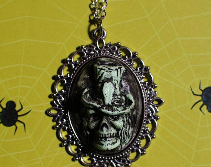 Halloween Skeleton Resin Cameo Necklace  - Creepy Cute Gothic Lolita  -Deadly Nightshade Green
