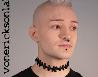 Stitch Necklace - Frankenstein Zombie -  All Black  Stitches Choker - Extreme stitch