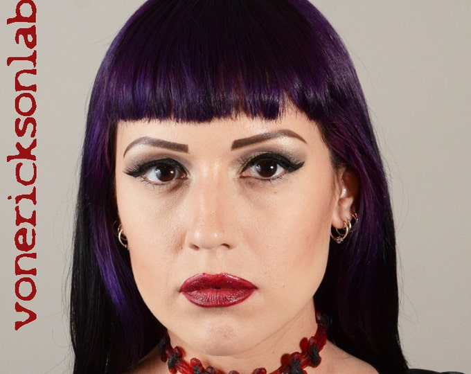 Sexy   Zombie Gothic Monster Stitches choker necklace - Bright Red Extreme