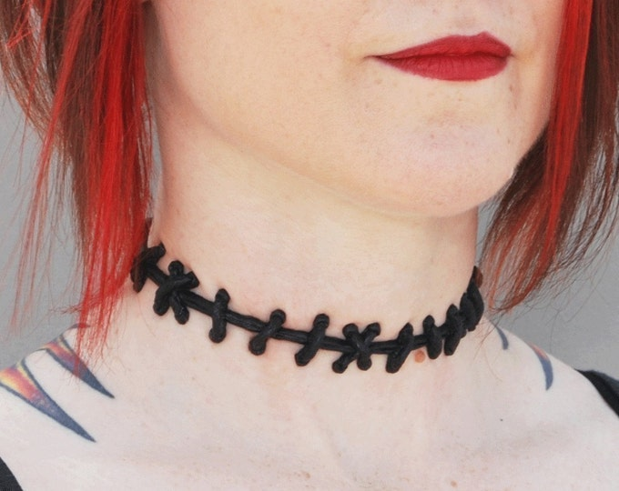 Stitches Necklace Halloween Jewelry- Bride of Frankenstein choker and Bracelets - 3PC Set