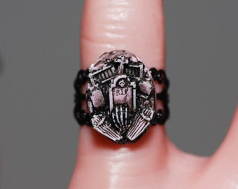 Gothic Ring  - Creepy Cute Putrid Pink Miniature Cemetery   Ring -  Horror Psychobilly Jewelry