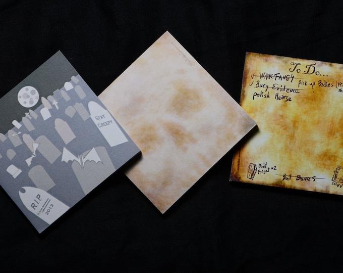 Halloween spooky Skull , Graveyard, and Laboratory  desk Stationary Sticky Note  (3 Pad Set)