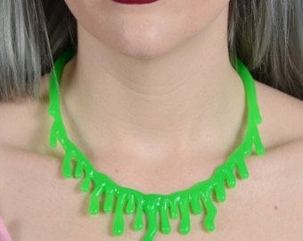 Green Drip  choker Necklace  - Low hanging  Extra Drippy- Bright  Green Slime