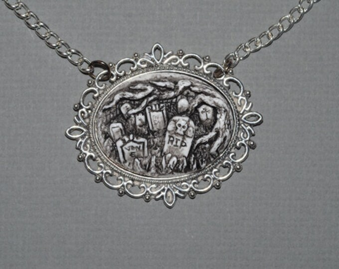 Gothic Cameo Necklace  - Creepy Old  Victorian Cemetery Necklace with Tombstones - Zombie  Vampire