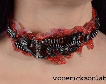 Halloween Jewelry  - Gothic Zombie Gear Choker - Antiqued Steel Tone - Slit throat Horror Cyberpunk Jewelry