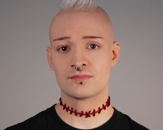 Gothic Jewelry stitches - Zombie Brite Red Blood  with Black  Stitches Choker -with small stitches