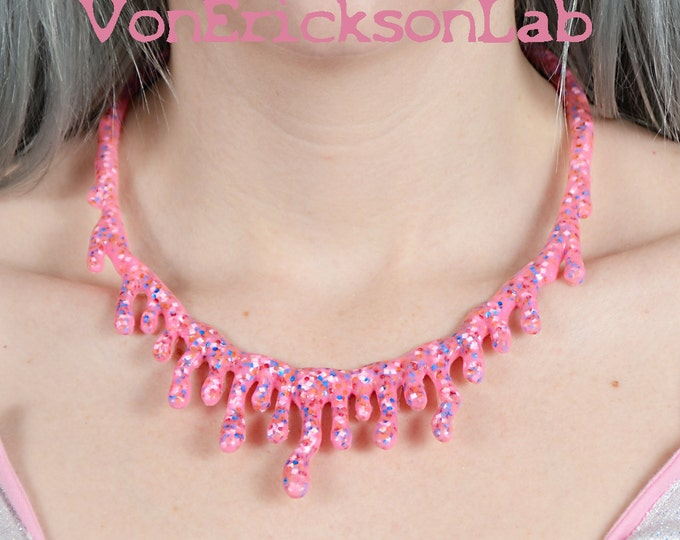 Pink ice cream with sprinkles drippy necklace - Low Hanging -Creepy Cute