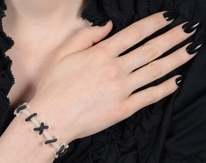 Frankenstein Zombie Bracelet- Glow in Dark   with black stitch bracelet
