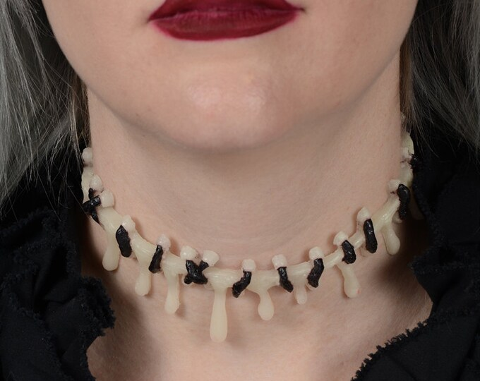 Dripping Blood and Stitch Necklace Choker  -Glow in the DARK