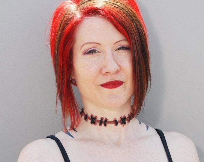 Zombie Stitches Halloween Costume  Sally Stitches -   Stitch Choker Necklace - Natural Flesh 2 with medium stitches