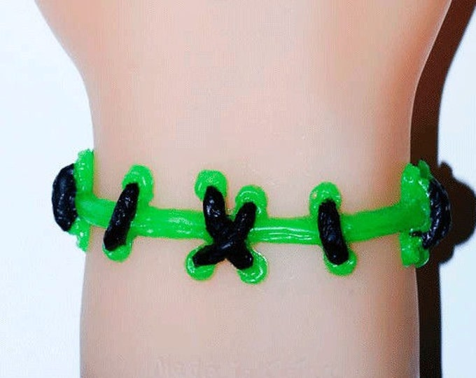 The Original Von Erickson Brite Monster Green  Stitch bracelets 2PC SET