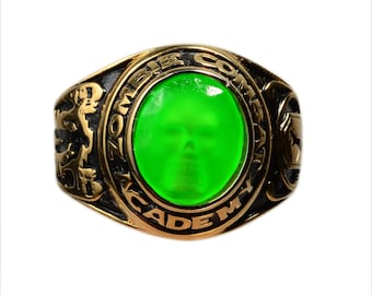 Zombie  Combat Academy Graduation  Skull Ring SIZE 9 BRIGHT GREEN