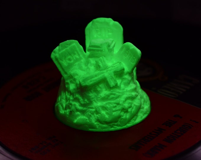 Creepy Cemetery 45  RPM Record adapter Glow in Dark