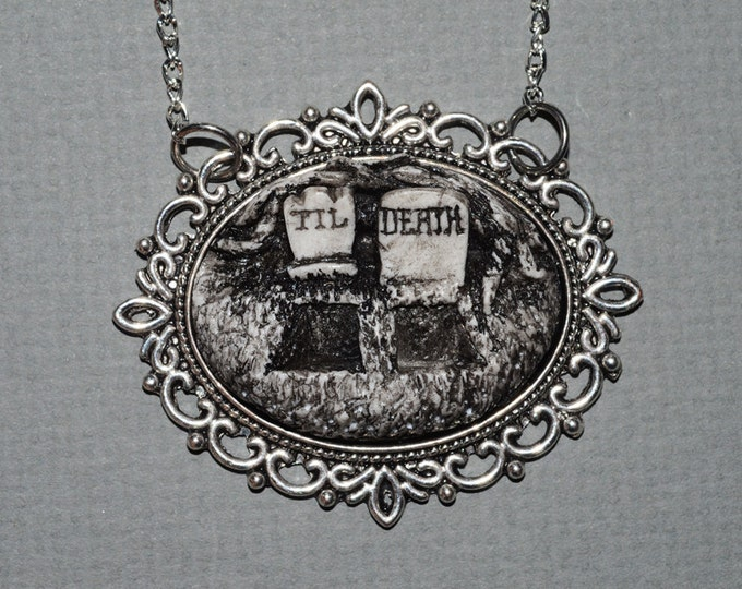 Gothic Cameo   Necklace - Creepy Cute Gothic Cameo Resin Necklace  -  Till Death Double Grave