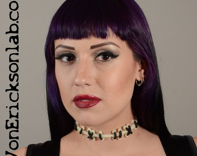 Halloween Zombie Sally Stitches Ragdoll Necklace - Glow in the Dark  with Black stitches Halloween Jewelry