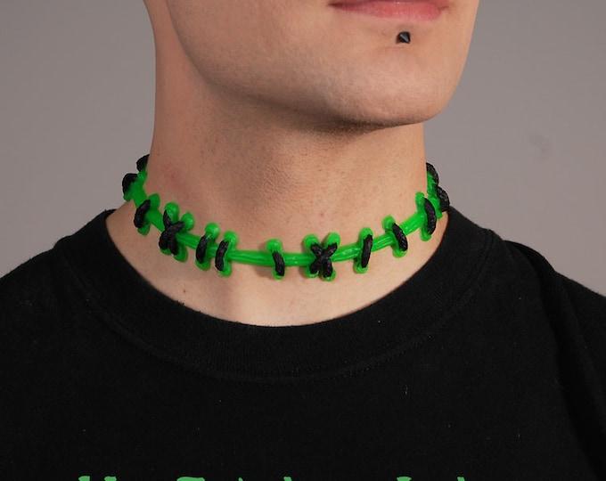 Frankenstein Stitch jewelry  - Fluorescent Bright Green Choker Necklace with MEDIUM black stitches