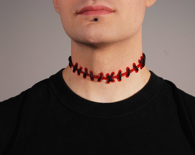 Halloween Jewelry - Stitch Choker  Necklace ,Rings and Bracelets  Combination Set(5pc) - Zombie- 5 PC