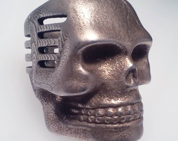 Skull Microphone Ring Bronzed silver Stainless Steel Finish