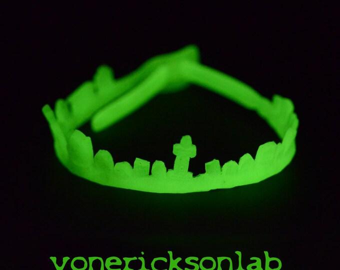 Halloween Glow Jewelry- Horror - Gothic Necklace -Cemetery Tombstone Choker - Glow in the dark