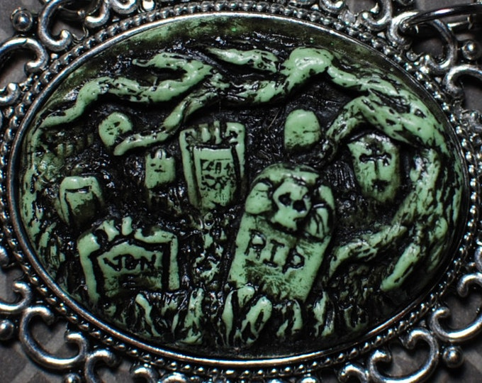 Gothic Cameo Necklace  - Creepy Old  Victorian Cemetery Cameo Necklace with Tombstones - Deadly Nightshade Green
