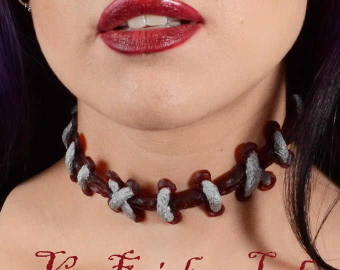 Stitches choker necklace -Silver extreme stitches on Black