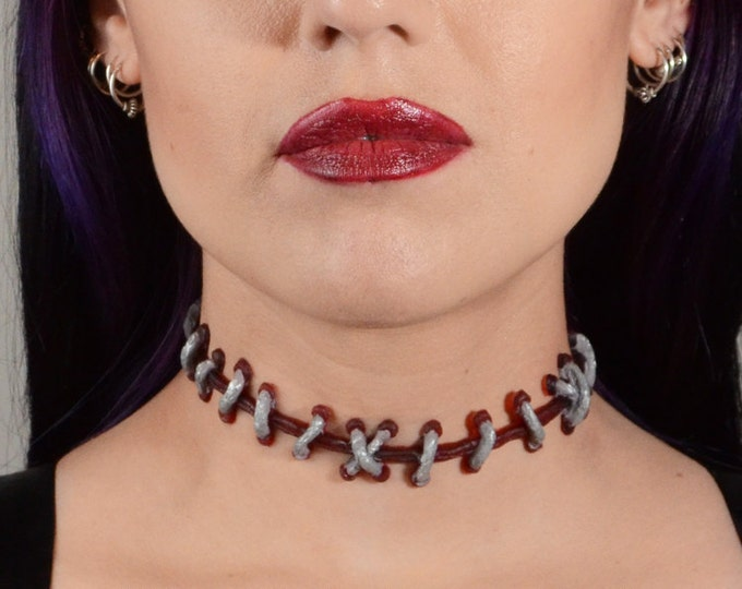 Psychobilly Frankenstein Zombie -  Silver and Dark Red  stitches Choker