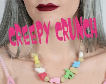 Kawaii Creepy Cute Cereal Necklace Pastel Gothic  Spooky jewelry
