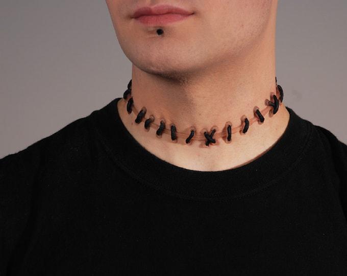 Frankenstein Zombie Stitch Necklace - Flesh Natural stitches Choker