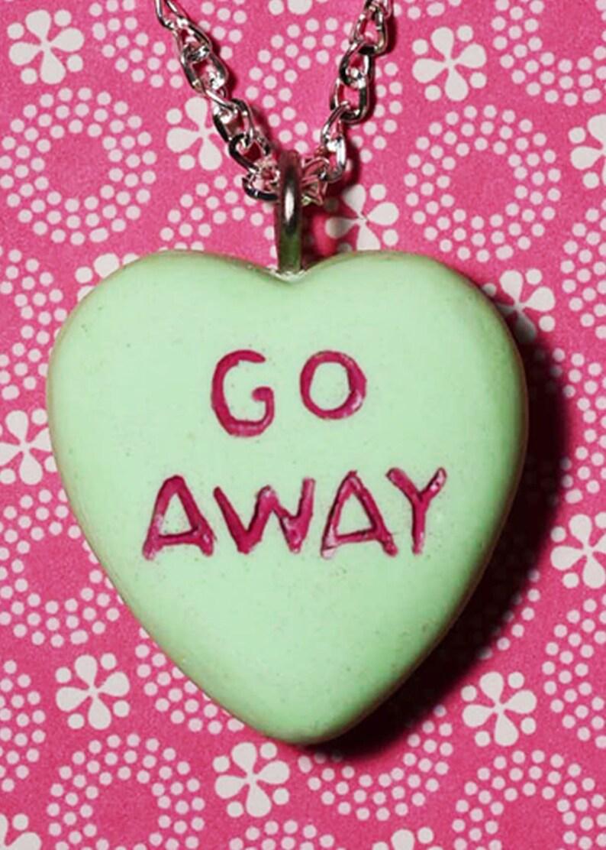 Rockabilly Psychobilly Candy Heart  Message Pendant Necklace image 0
