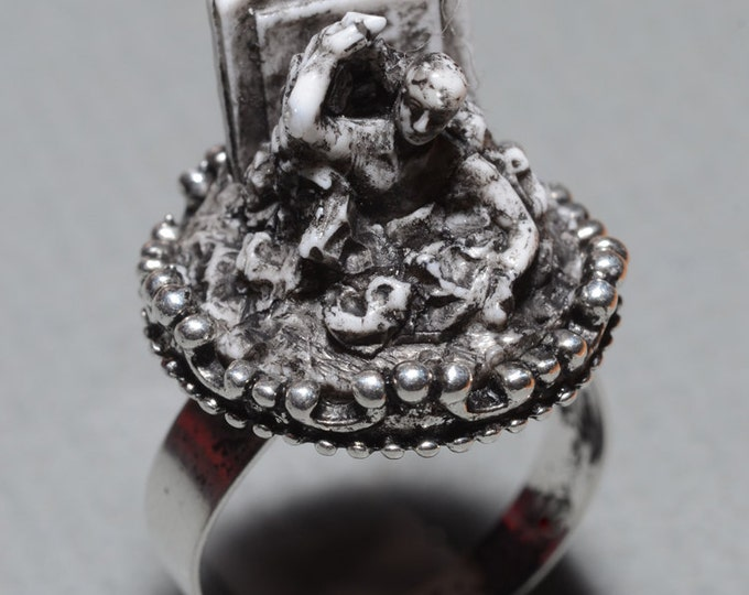 Zombie Ring - Cameo  Ring- Rising from the Grave Zombie- Victorian Cemetery