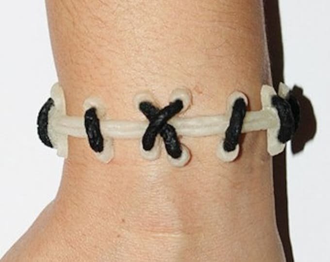 Frankenstein Zombie Bracelet- Glow in Dark  with black stitches