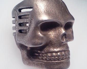 Skull Microphone Ring Stainless Steel Finish