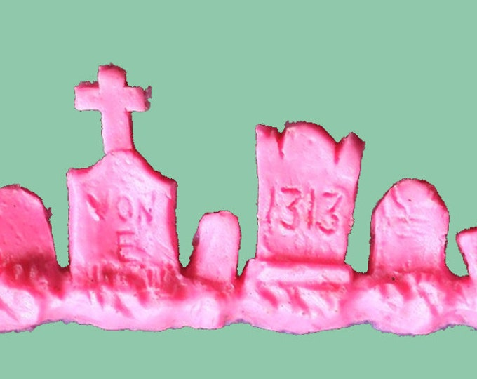 Gothic Jewelry - Cemetery Tombstone Bracelet Hot Pink