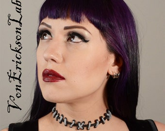 Frankenstein Monster Zombie - Silver and Black  stitches Choker