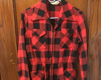 1960s red black plaid jacket small