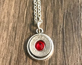 Bullet Shell Necklace, Bullet Jewelry, Birthstone Jewelry, Southern Charm, Christmas Gift, Womens Jewelry, Birthstone Necklace, Bridesmaid