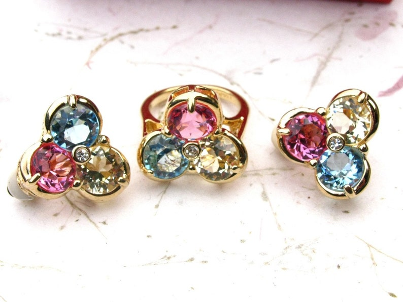 Ivana Pink Yellow and Blue Crystal and Rhinestone Earring image 0