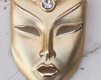 Vintage Mardi Gras Mask Brooch Gold Tone with Rhinestone