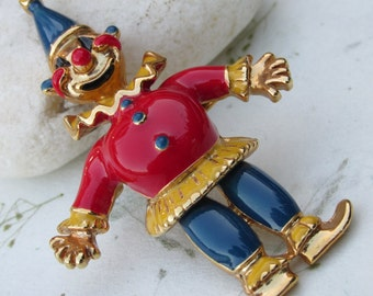 Vintage Red, Blue, Yellow Enamel Jointed Clown Brooch
